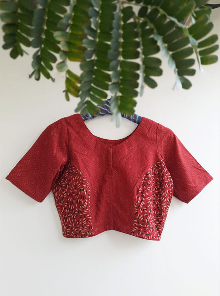 Ajrakh madder red blouse