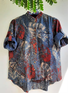 Abstract indigo hand woven women's shirt