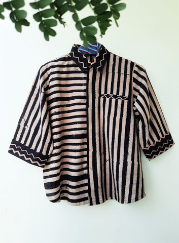 Stripes black & white hand block print women's shirt