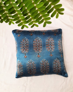 Indigo mashru silk cushion cover