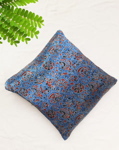 Indigo floral mashru silk cushion cover