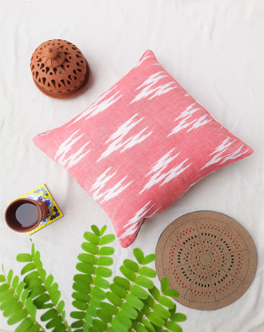 Ikat pink & white cushion cover