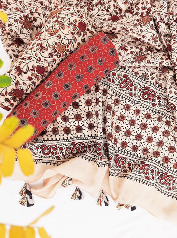 Ajrakh unstitched suit set