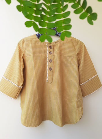 Striped turmeric yellow ajrakh top