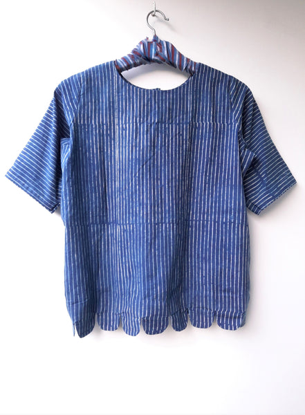 Indigo striped women's top