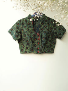 Ajrakh hand block print blouse in green color