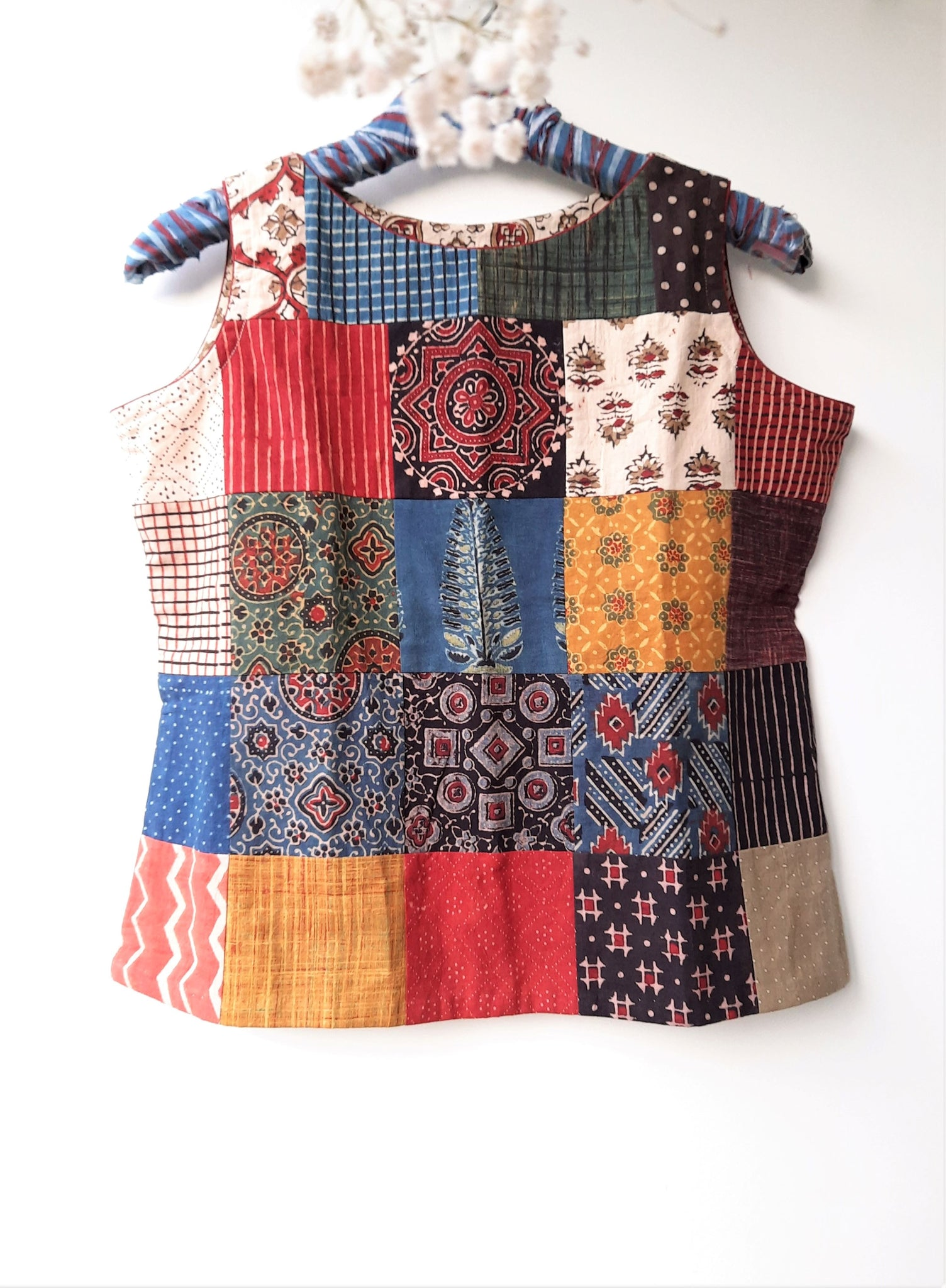 Ajrakh patchwork top