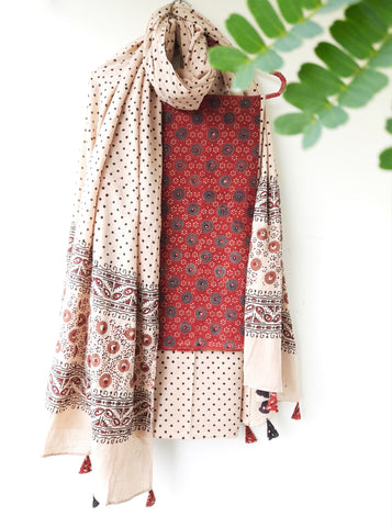 Ajrakh unstitched madder red & beige suit set
