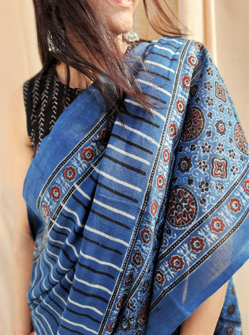 Indigo ajrakh cotton saree