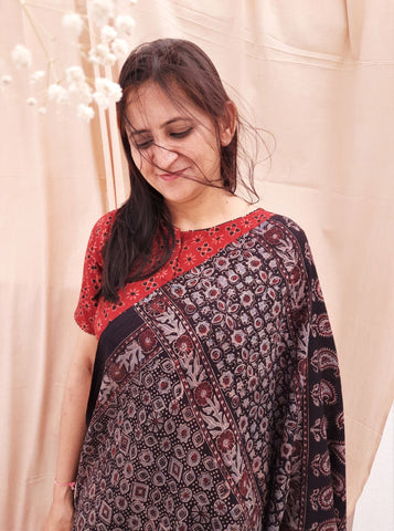 Ajrakh cotton saree in black color