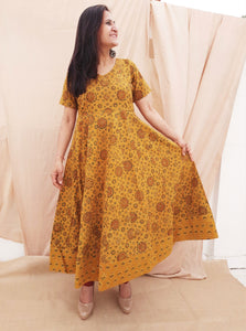Ajrakh anarkali in turmeric yellow