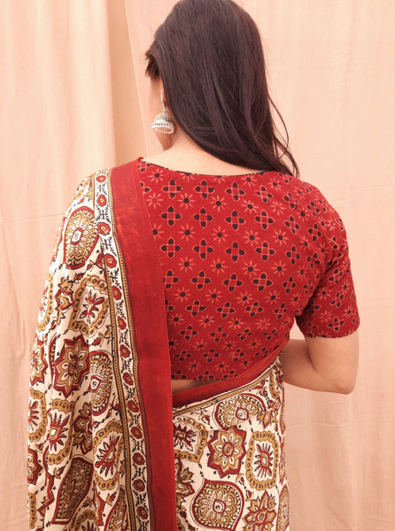 Ajrakh off white & madder red modal silk saree