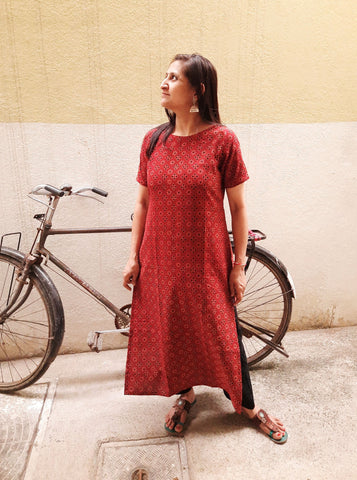 Hand block print ajrakh women's kurta in cotton, natural dyed hand block print kurta