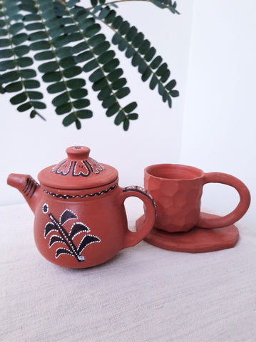Terracotta teapot & cup set