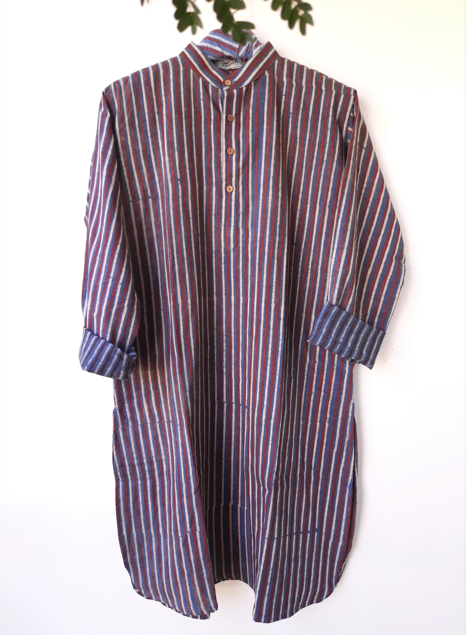 Indigo striped men's kurta