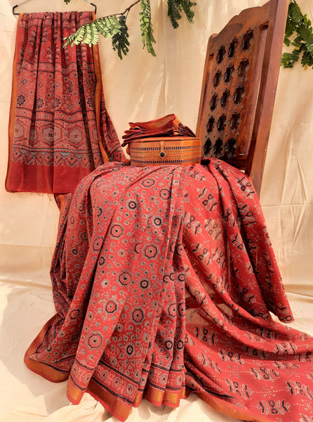 Hand block print ajrakh cotton saree in maroon color