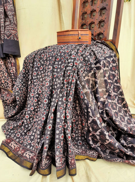 Black ajrakh hand block print saree