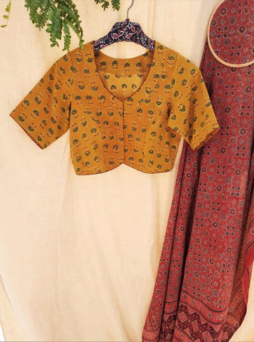 Ajrakh cotton blouse in turmeric yellow color, ajrakh prints cotton blouse, ajrakh hand block print saree blouse