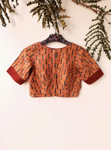 Ajrakh hand block print blouse in earthy peach, ajrakh saree blouse, ajrakh print blouse