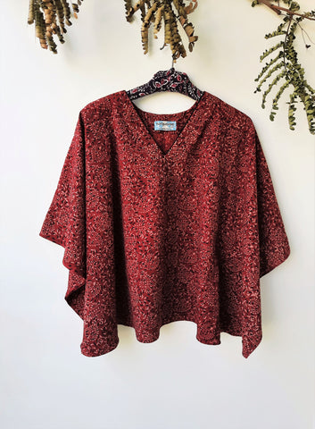 Madder red hand block print ajrakh kaftan top in cotton made using natural dyes