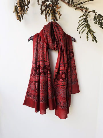 Ajrakh hand block print madder red cotton dupatta