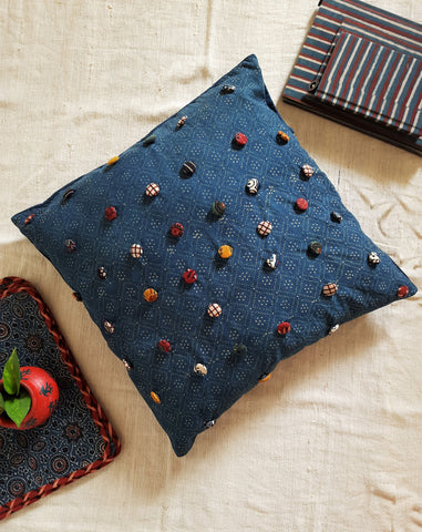 Indigo button art cushion cover, ajrakh indigo cushion cover  with buttons