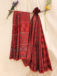 Madder red ajrakh hand block print saree, ajrakh prints saree, ajrak sari, handmade saree, saree blouse, ajrakh saree, ajrakh prints, ajrakh print cotton saree