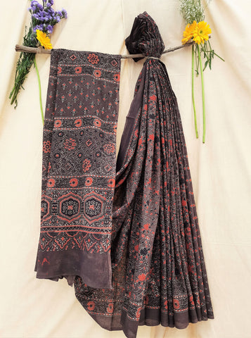 Brown ajrakh hand block print saree, ajrakh print saree, ajrakh hand block print sari, handmade saree, indian prints sari, ajrakh chocolate brown saree