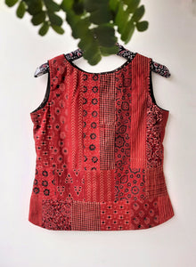 Ajrakh hand block print patchwork top, hand block print patchwork top, ajrakh prints patchwork top, ajrakh prints patchwork cotton top, madder red patchwork top