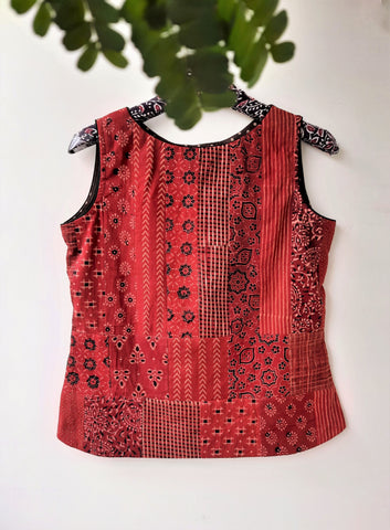 Ajrakh hand block print patchwork top, hand block print patchwork top, ajrakh prints patchwork top, ajrakh prints patchwork cotton top