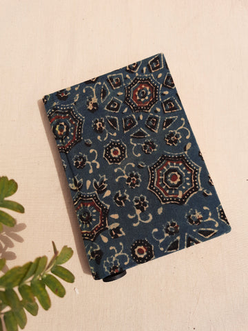 Ajrakh hand block print journal, handmade upcycled journal, deep green cover journal, handmade upcycled journal, handmade plain pages diary