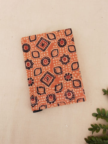 Handmade upcycled journal, Ajrakh print journal, Ajrakh hand block print journal, Upcycled handmade journal, earthy peach ajrakh journal, handmade diary