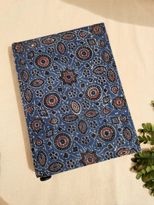 Indigo upcycled handmade journal, Upcycled handmade journal, Ajrakh hand block print journal in indigo, Indigo dyed hand block print upcycled journal, Ajrakh  print journal