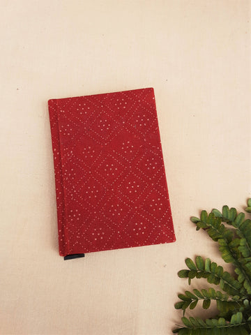 Upcycled handmade journal in maader red, Ajrakh hand block print journal, Upcycled paper journal, Hand block print madder red journal, Ajrakh print journal, Upcycled handmade journal in madder