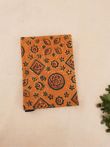 Upcycled handmade journal in turmeric yellow color, Ajrakh hand block print journal, Upcycled handmade journal, Ajrakh print journal with upcycled paper, Handmade diary