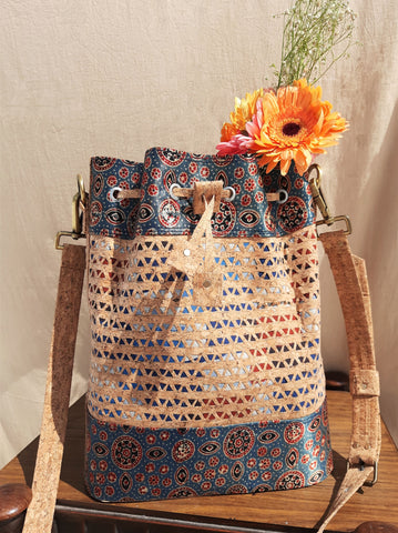 Cork bucket bag, Handmade cork handbag, Cork handbag, Hand carved cork & ajrakh bucket bag, Cork bucket bag, Cork women's handbag, Cork bucket handbag, Handcrafted cork bucket bag