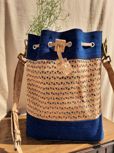 Cork hand carved bucket bag - Ajrakh & denim