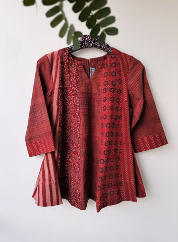 Ajrakh hand block print top, Madder red ajrakh prints top, Ajrakh prints cotton top, Hand block print kali cut top, Ajrakh top, Ajrakh prints cotton top, Kali top in madder red, Ajrakh prints women's top