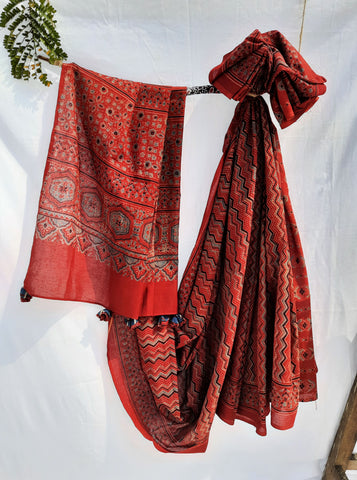Ajrakh hand block print saree in madder red, Ajrakh prints saree, Ajrakh prints cotton saree, Handmade ajrakh sari, Ajrakh saree, Ajrakh sari, Madder red ajrakh saree