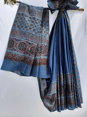 Indigo ajrakh saree, Ajrakh hand block print saree in indigo color, Indigo dyed ajrakh saree, Ajrakh prints sari, Ajrakh saree, Ajrakh cotton saree