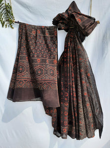 Ajrakh hand block print saree in brown color, Ajrakh brown saree, Ajrakh prints cotton sari, Ajrakh hand block print brown saree, Natural dyed ajrakh cotton saree, Brown ajrakh saree