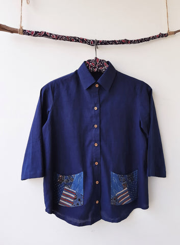 Indigo dyed women's shirt, Indigo blue women's shirt, Handmade indigo women's shirt, Upcycled indigo shirt, eco friendly indigo women's shirt with pockets, patchwork indigo women's shirt, patchwork ajrakh women's shirt, Indigo patchwork women's shirt in cotton