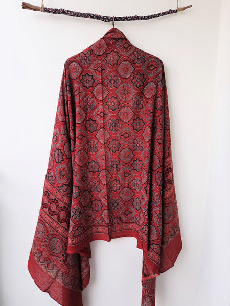 Ajrakh madder dyed dupatta, ajrakh hand block print cotton dupatta, Cotton ajrakh prints dupatta, Ajrakh prints madder red dupatta