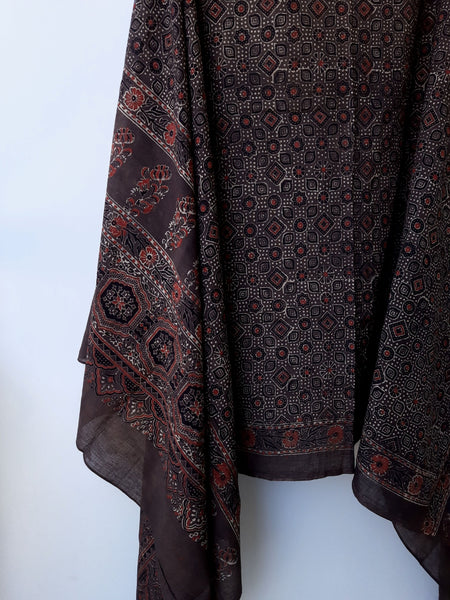 Brown ajrakh hand block print dupatta, Ajrakh prints cotton dupatta, Hand block print dupatta, Indian prints dupatta, Cotton dupatta in ajrakh prints