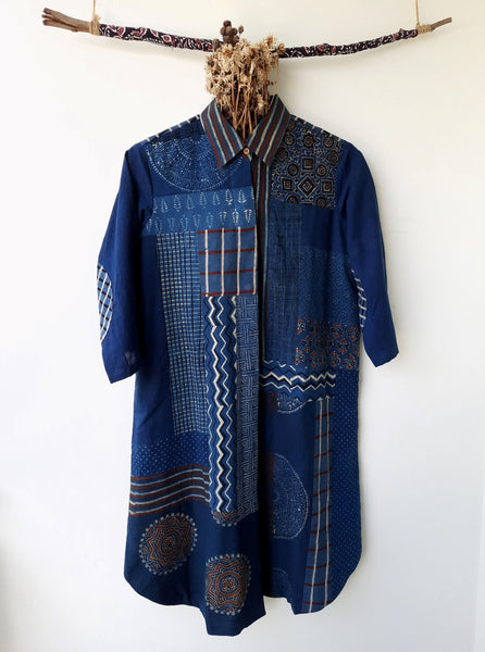 Indigo shirt dress, Ajrakh prints women's shirt dress, Up-cycled handmade indigo shirt dress, Indigo dyed shirt dress, Patchwork ajrakh prints shirt dress