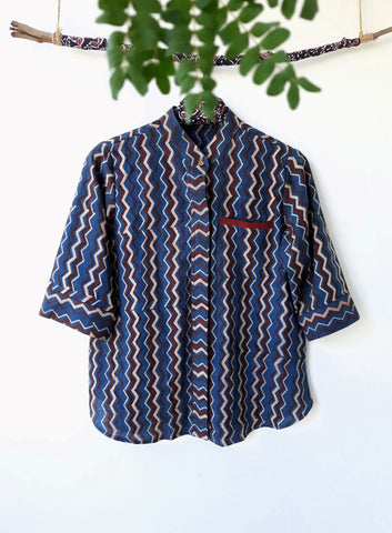 Indigo ajrakh organic cotton women's shirt, Organic cotton hand spun and handwoven women's shirt, Indigo dyed chevron print women's shirt, Ajrakh hand block print organic shirt