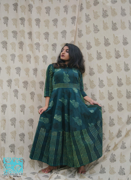Green ajrakh dress