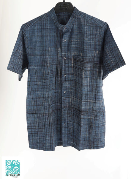 Indigo Brush Print Men's Shirt