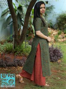 Ajrakh green kurta and maroon palazzo set