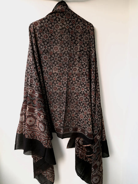 Ajrakh hand block print black dupatta, Ajrakh prints cotton dupatta, Indian block prints cotton dupatta